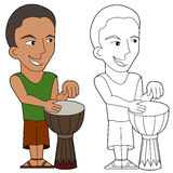 Cartoon percussionist royalty free illustration