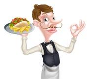 Cartoon Perfect Kebab and Chips Waiter Royalty Free Stock Photos