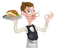 Cartoon Perfect Kebab Pita Waiter Stock Photo