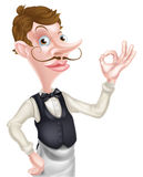 Cartoon Perfect Sign Waiter Stock Photography