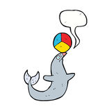 Cartoon performing seal with speech bubble Stock Images