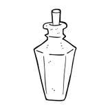 Cartoon perfume fragrance bottle. Black and White Line cartoon in retro style.  Vector available Stock Photos