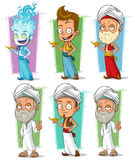 Cartoon persian and jinn with lamp character set. Cartoon arabic persian and fire jinn with golden lamp character vector set royalty free illustration