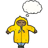 Cartoon person in raincoat Stock Photography