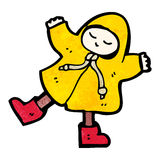 Cartoon person in raincoat Stock Images