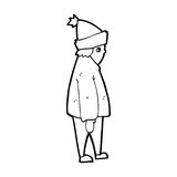 Cartoon person in winter clothes Stock Image