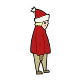 Cartoon person in winter clothes Stock Photography