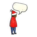 Cartoon person in winter clothes with speech bubble Stock Images