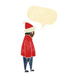 Cartoon person in winter clothes with speech bubble Royalty Free Stock Photos
