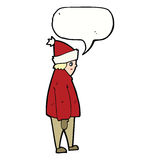 Cartoon person in winter clothes with speech bubble Royalty Free Stock Image