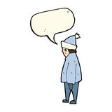 Cartoon person in winter clothes with speech bubble Stock Image