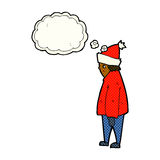 cartoon person in winter clothes with thought bubble Stock Images