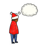 cartoon person in winter clothes with thought bubble Stock Image