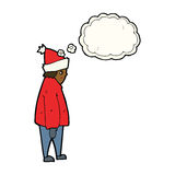 cartoon person in winter clothes with thought bubble Royalty Free Stock Photography
