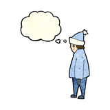 Cartoon person in winter clothes with thought bubble Stock Photography