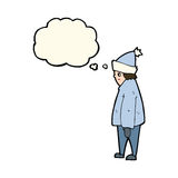 Cartoon person in winter clothes with thought bubble Stock Photos