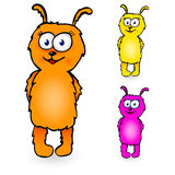 Cartoon personage. Funny fluffy cartoon character in three colors Stock Photography