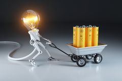 Cartoon personage lamp robot and trolley with batteries. Waste r. Ecycling plant. 3d concept Royalty Free Stock Images