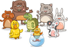 Cartoon pet characters group Royalty Free Stock Image