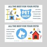 Cartoon Pet Shop Banner or Flyer Set. Vector Stock Image