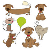 Cartoon pets collection. On white background Stock Photos