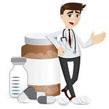 Cartoon pharmacist with medicine pills and bottle Royalty Free Stock Image