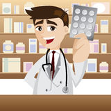 Cartoon pharmacist with pack of medicine Royalty Free Stock Photo
