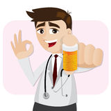 Cartoon pharmacist showing medicine bottle Royalty Free Stock Image