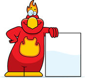 Cartoon Phoenix Sign. A cartoon illustration of a phoenix leaning against a sign Stock Photo