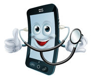 Cartoon phone character holding a stethoscope Royalty Free Stock Images