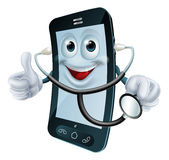Cartoon phone character holding a stethoscope royalty free illustration