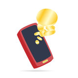 Cartoon Phone Coins Royalty Free Stock Image