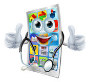 Cartoon phone doctor man. Cartoon illustration of a phone doctor man holding a stethoscope Royalty Free Stock Photo