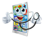 Cartoon phone holding a stethoscope Royalty Free Stock Images