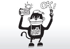 Cartoon photographer. Hand drawn illustration of a cute happy monkey photographer royalty free illustration