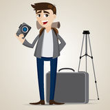Cartoon photographer with bag and tripod Royalty Free Stock Photo
