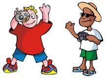 Cartoon photographers. Pack of two vector illustration Royalty Free Stock Photography