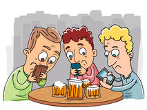 Cartoon phubbing gang. Stock Image