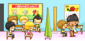 Cartoon physician doctor or pediatrician diagnoses group of kind Royalty Free Stock Photos