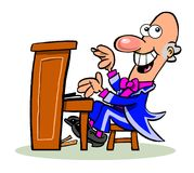 Cartoon piano player. Cartoon caricature of musician playing stand up piano Royalty Free Stock Image