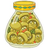 Cartoon pickled champignon mushrooms Stock Photos