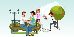 Cartoon picture consist of two happy families with kids vector illustration