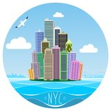 Cartoon picture of Manhattan. Island in new York city with various skyscrapers and buildings. Vector graphics templates. Panorama of the big city. Sticker or Royalty Free Stock Photos