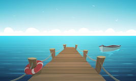 Cartoon Pier. Cartoon illustration of the wooden pier with ropes, life-buoy and boat in the ocean Royalty Free Stock Photos
