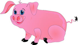 Cartoon pig. Sits & smiles. Vector illustration Royalty Free Stock Image