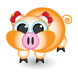 Cartoon pig with bows stock illustration