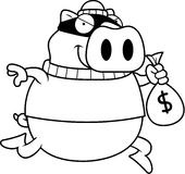 Cartoon Pig Burglar Royalty Free Stock Photo