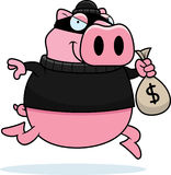 Cartoon Pig Burglar. A cartoon illustration of a pig burglar stealing money Stock Image