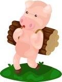 Cartoon pig carry firewood. Illustration of isolated cartoon pig carry firewood Royalty Free Stock Photo