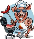 Cartoon pig chef bbq grill cooking